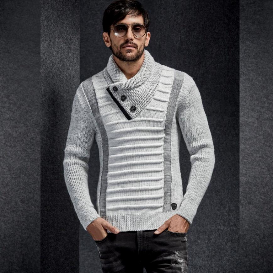 ハイネック ショールカラー ニット セーター メンズ 白黒 グレー M/L/XL/XXL ボタン付き ボーダー編み 大きい ゆったりサイズ