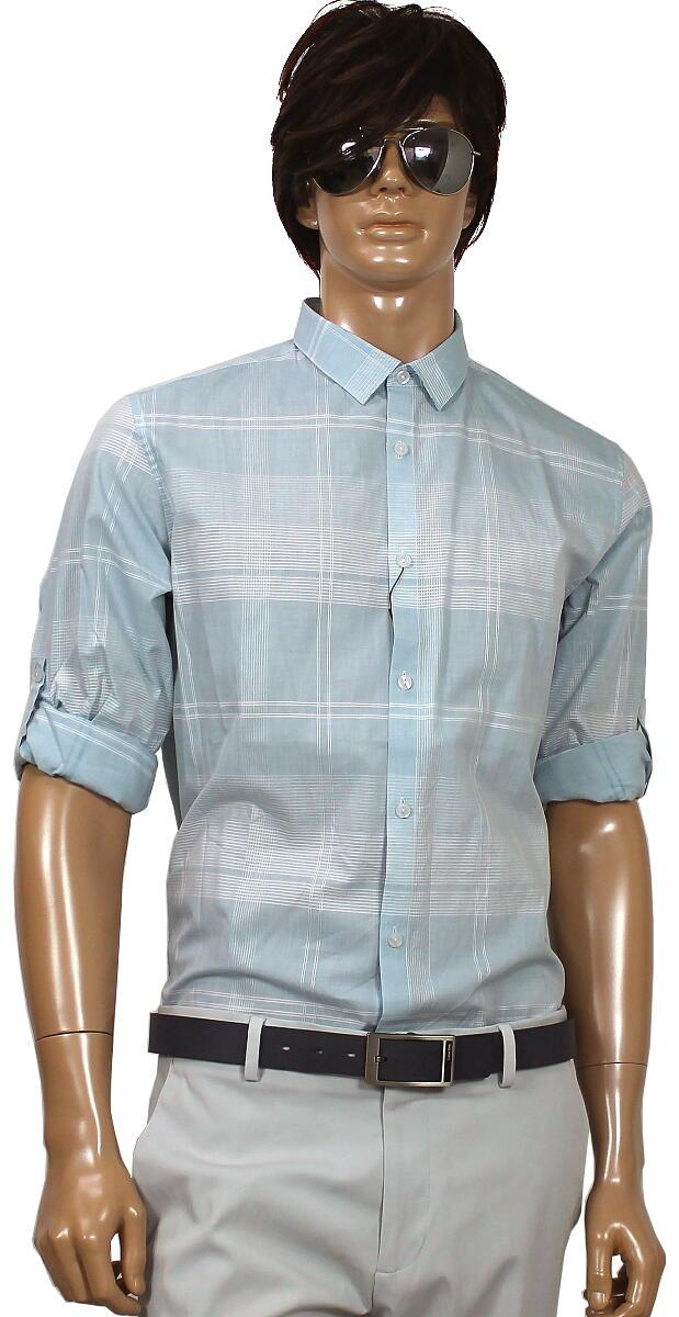 Calvin Klein カルバンクライン チェック 長袖シャツ 水色/10012344big   XL XXL 2L 3L 大きいサイズ メンズ