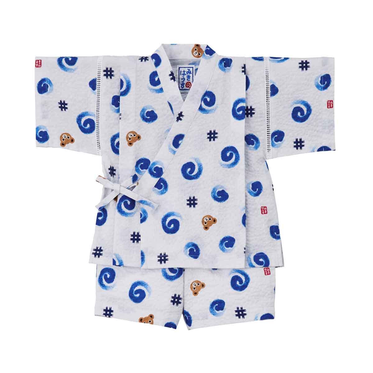Mikihouse ハイクオリティ 浴衣 夏祭り 割引も実施中 日本製 サンクスプライス☆MIKIHOUSE ミキハウス うずまき和柄甚平スーツ:ミキハウス :90cm:12-7503-619 プッチー
