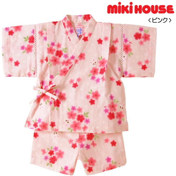 在庫限り☆ MIKIHOUSE ミキハウス 二重織ガーゼ♪お花柄うさこ甚平スーツ:80cm,90cm:12-7514-787