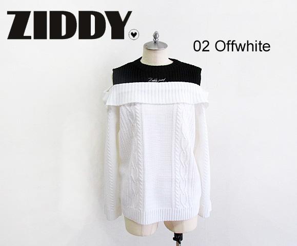 Ziddy ziddy ジディー ニット スーパーセール SALE 50%OFF ジディ ニット:S お中元 2020秋冬 M:1232-28008 重ね着風オープンショルダー ZIDDY
