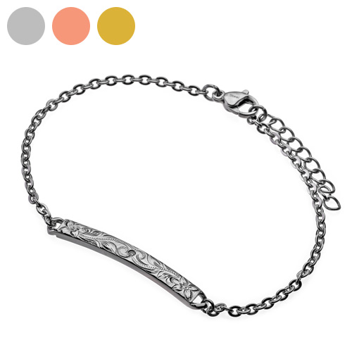 木槿氧化锆铭牌手镯(银子)夏威夷人珠宝式的包免费[不锈钢手镯]