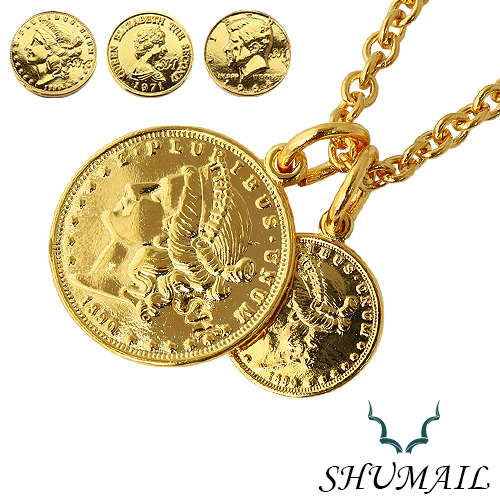 Silveraccessorybinich rakuten global market double gold coin double gold coin pendant brandshumail brass brass thickness plating stainless steel 316 l pvd accessory pendant necklace men fs3gm mozeypictures Images
