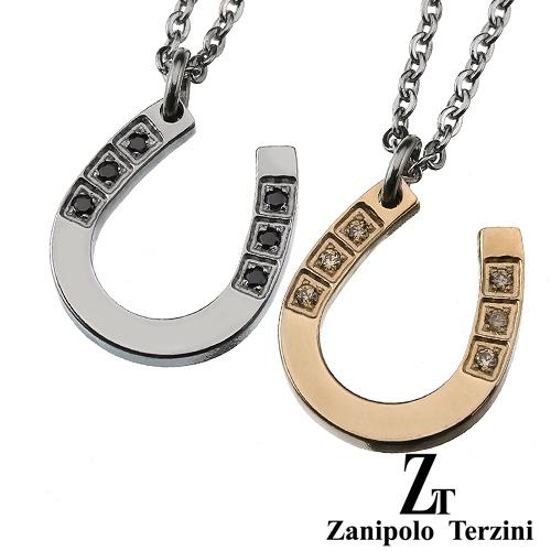 zanipolo terzini (ザニポロタルツィーニ) 【ペア販売】ジルコニア ホースシュー ペア ペンダント アクセサリー[ステンレスペンダント]