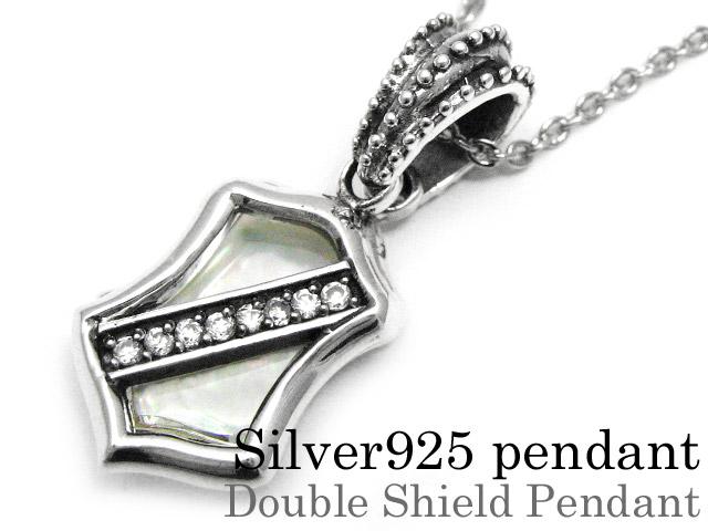 Binich(ビニッチ) ダブルシールドシェルペンダント ネックレス メンズ (3mmアズキチェーン割引セット) シルバー925 アクセサリー 盾[シルバーペンダント]