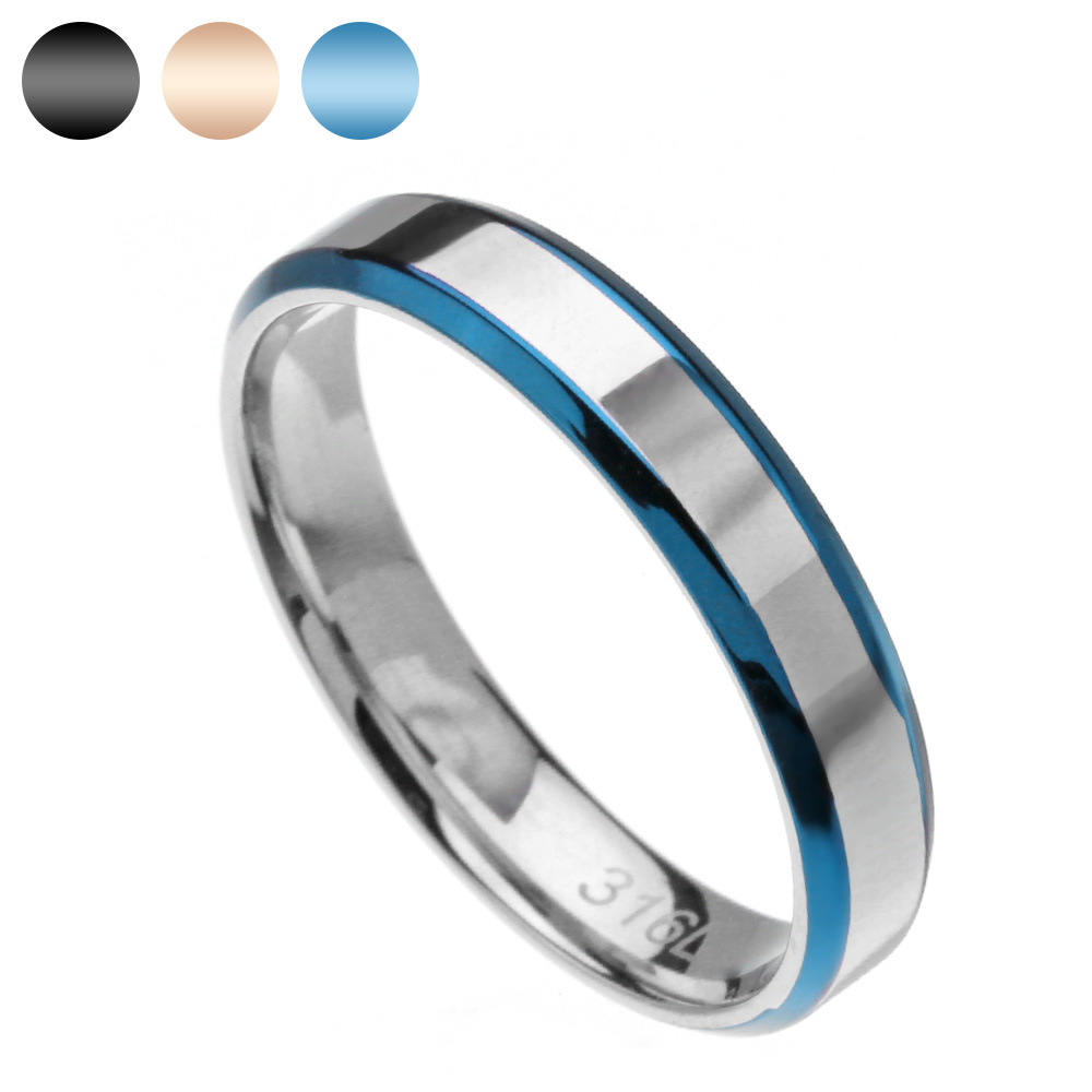 Double line blue steel ring pairs men's stainless steel wrapper free