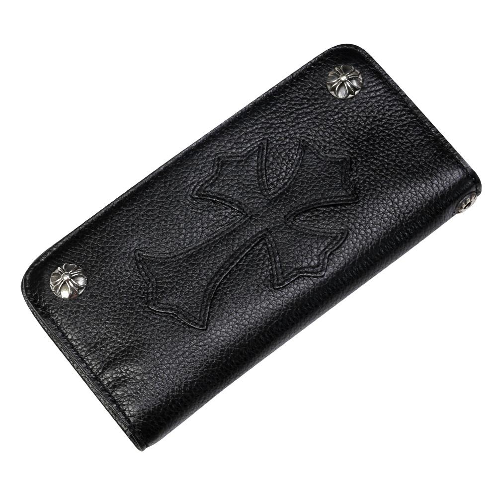 【割引クーポン配布】2zipゴシッククロスレザーウォレット 牛革財布 メンズ 送料無料