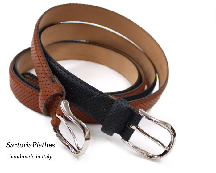 OFFICINA ARTIGIANA Men/'s Perforated Cognac//Brown Leather Belt Made In Italy New