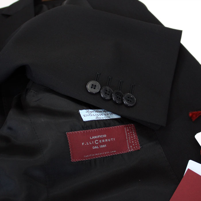 The size that cloth 2 button suit black four circle correspondence MADE IN ITALY made in suit men black suit cloth CERRUTI DAL1881 << チェルッティ >> Italy made in Italy is big is preparation! 88000