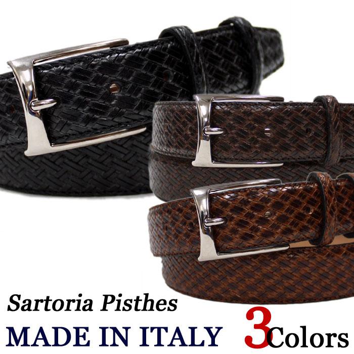 SartoriaPisthes イタリア製 レザーベルト メンズ フルハンドメイド イントレチャートスタンパードレザーイントvnwN80m