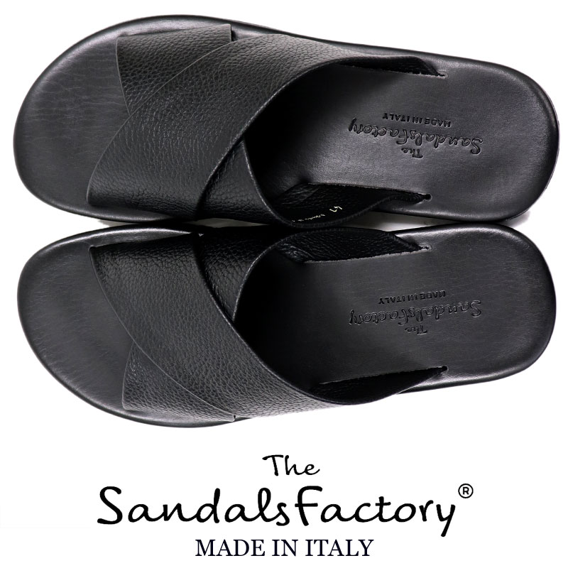 Leather sandals men << genuine leather trendy rubber bottom rubber sole  black black in the spring and summer >> MT made in The Sandals Factory <<  the