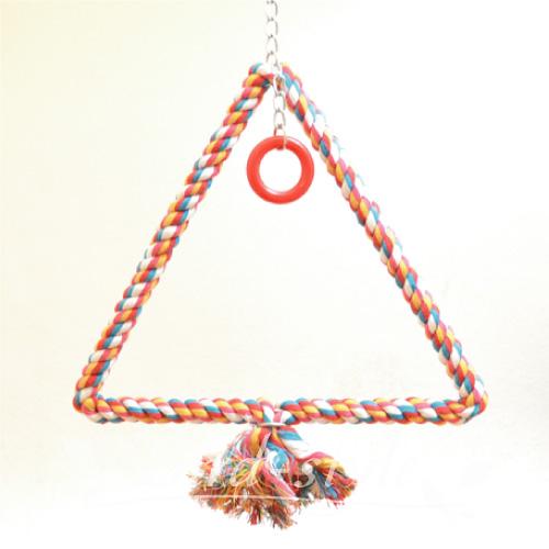 休み 小鳥 インコ おもちゃ グッズ 新着 送料無料 ロープ L トライアングル スウィング