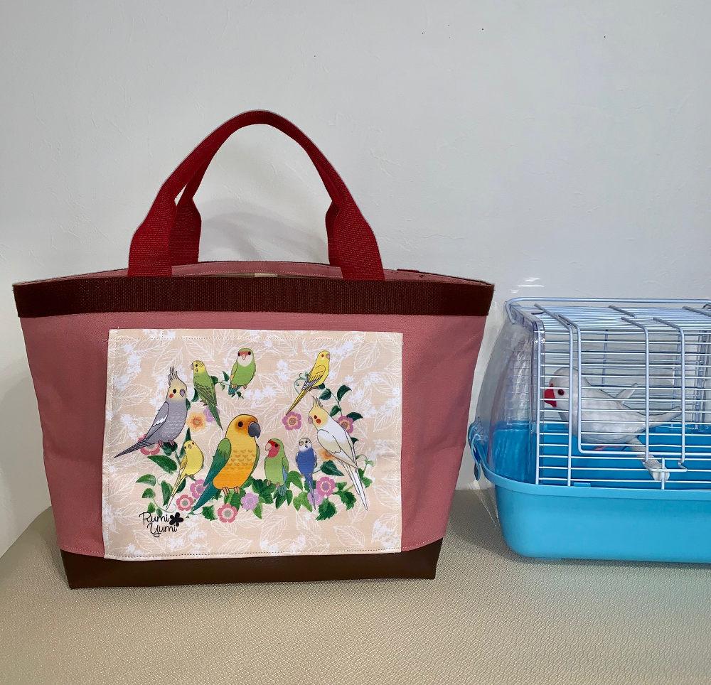 アトリエRumiYumi / スクエアバック(大)ピンク・ラブリーインコ&オカメ/ 232A0642 ( BIRDMORE バードモア 鳥用品 鳥グッズ 雑貨 グッズ 鳥 とり トリ インコ プレゼント )