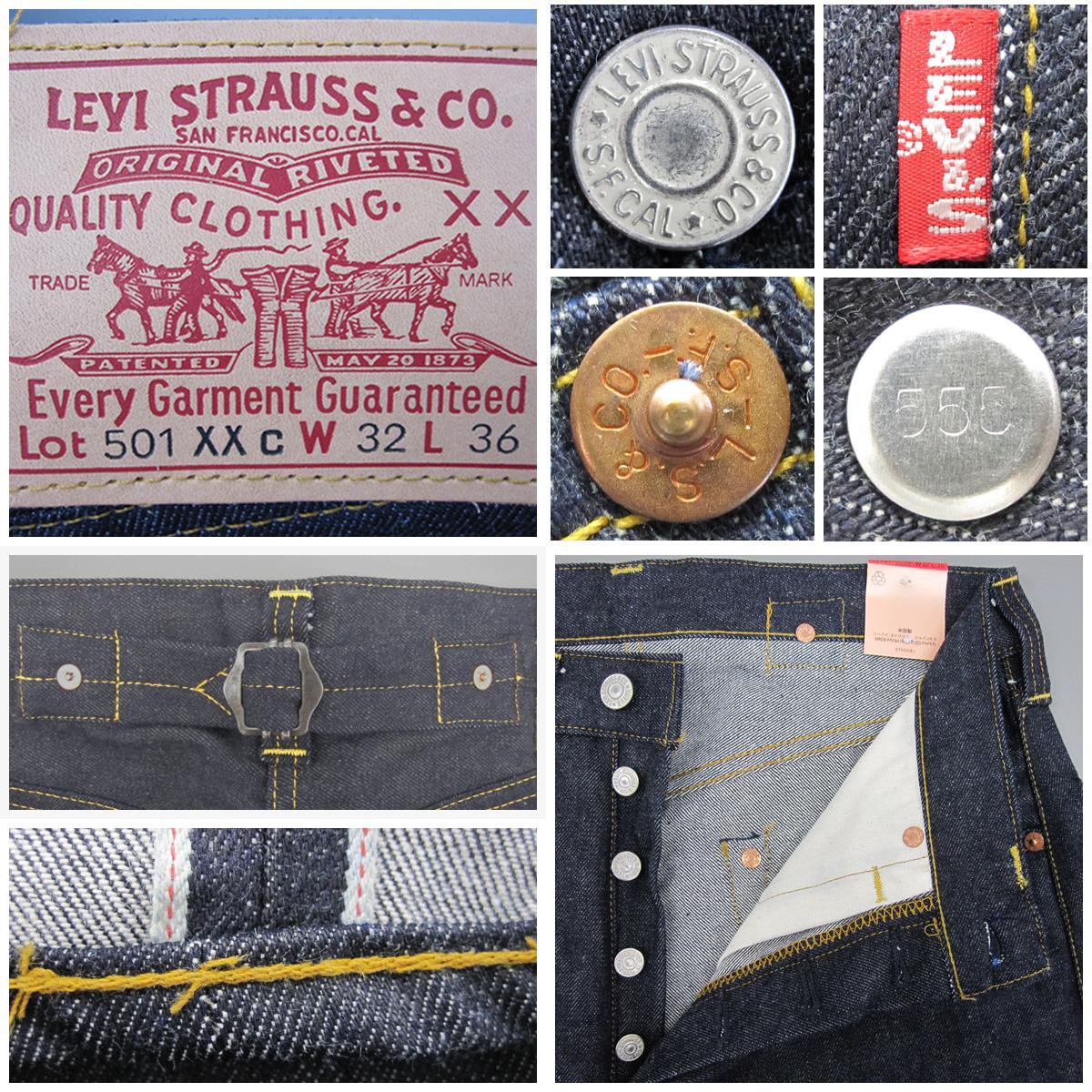 LEVIS 37201 0003 딱딱한 길이 36 인치 1937 년 501XXc 복 각 판 상단 버튼 뒤 555 표기 발렌시아 봉 빈티지 빅 E 레드 탭 LVC 레드 데님 크 로티 스 베트 백 함정 가죽 패치 1999 년 출시 된 재고
