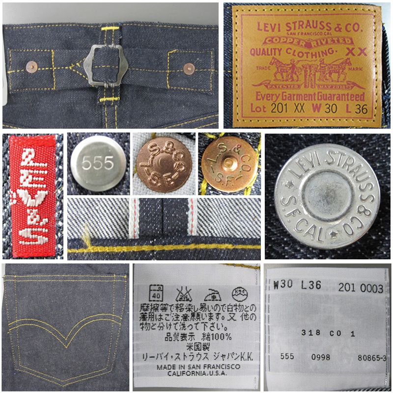 LEVIS 201 0003 rigid length 36 inch, 1937 reprinted 201 XX Edition top button back 555 imprint Valencia sewing red ears denim LVC big E red tab leather laser patch-United States back strap vintage 1999 release of dead stock