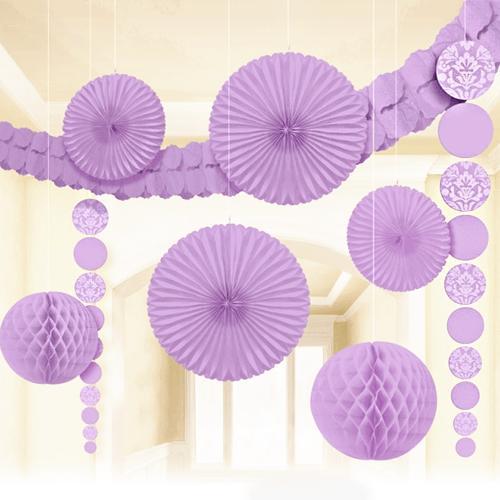 このセットでお部屋全体を飾り付け テーマカラーで空間装飾ができるペーパーデコレーションキット ルームデコレーションキット ガーランド ハニカム ハンギングデコ ペーパーファン 新色追加して再販 紫 ライラック 着後レビューで 送料無料