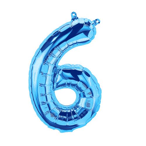 年中無休 手軽に飾れて程よい存在感 6 の形のブルーバルーン レターバルーン16インチ No.6 ブルー バルーン 流行 風船