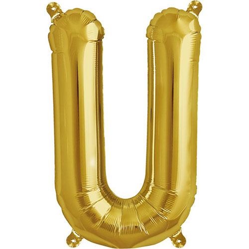 手軽に飾れて程よい存在感 アルファベットの形のゴールドバルーン メタリックレターバルーン レビューを書けば送料当店負担 オンラインショップ U ゴールド バルーン 風船 16