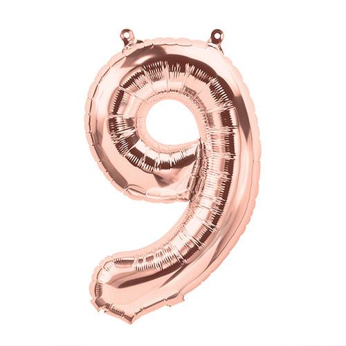 手軽に飾れて程よい存在感 アルファベットと数字 記号の形のローズゴールドバルーン 即納最大半額 9 レターバルーン16インチ 与え ローズゴールド