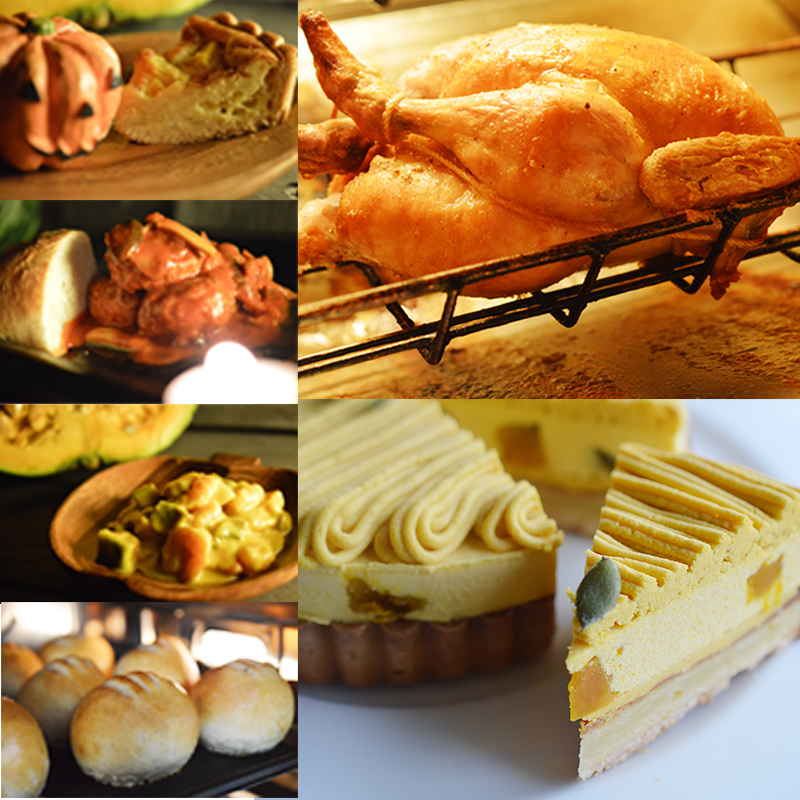 ローストチキン キッシュ ハンバーグ 海老のクリーム煮 日本正規代理店品 訳あり フランスパン カボチャのタルト フランス料理をハロウィンにレンジとトースターで食べられる洋風のお惣菜です 4人前 6点入ったハロウィン限定コース オードブルからデザートまで