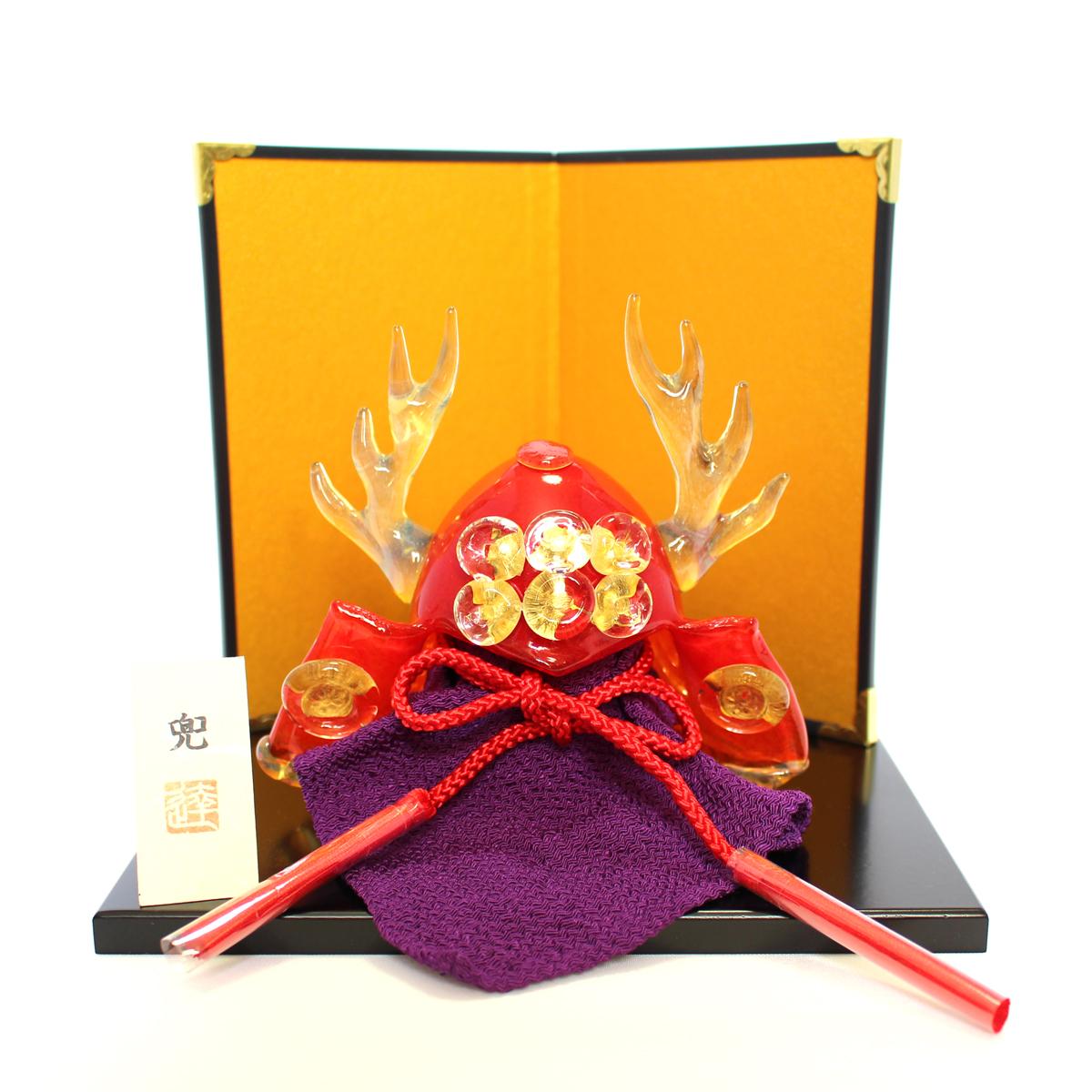 ガラスの兜 真田幸村 glass calico グラスキャリコ ハンドメイド ガラスアート 5月 端午の節句 五月人形 兜飾り オブジェ 室内 インテリア お祝い ギフト