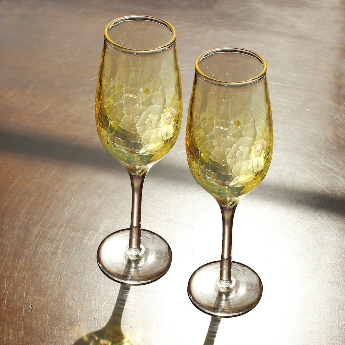 glasscalico グラスキャリコ ハンドメイド ガラス酒器 月光 (げっこう) シャンパングラス ペアセット (2個入)