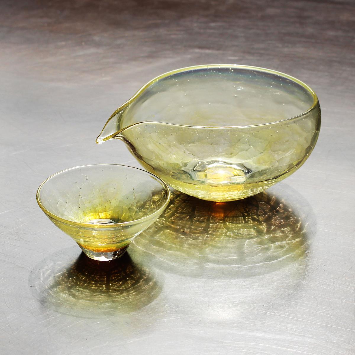 glasscalico グラスキャリコ ハンドメイド ガラス酒器 月光 (げっこう) 冷酒器セット (片口・ぐい呑 1個) おしゃれ ギフト プレゼント