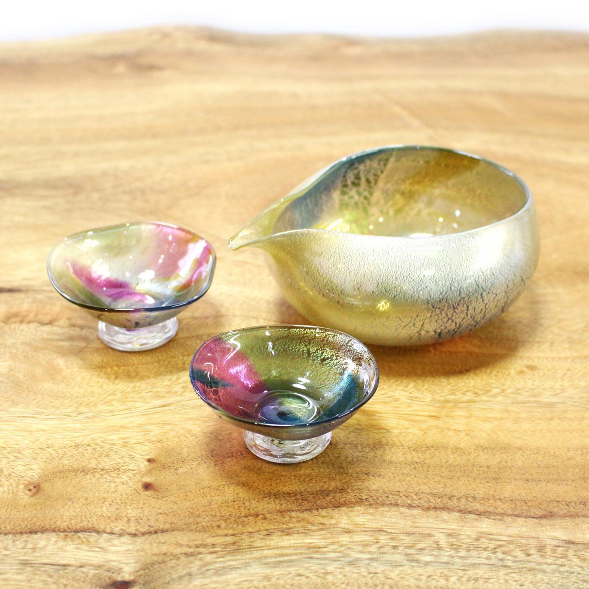 glasscalico グラスキャリコ earth(アース) 雅(みやび) 冷酒器セット (片口・ぐい呑 2個)  ハンドメイド ガラス酒器 おしゃれ ギフト プレゼント