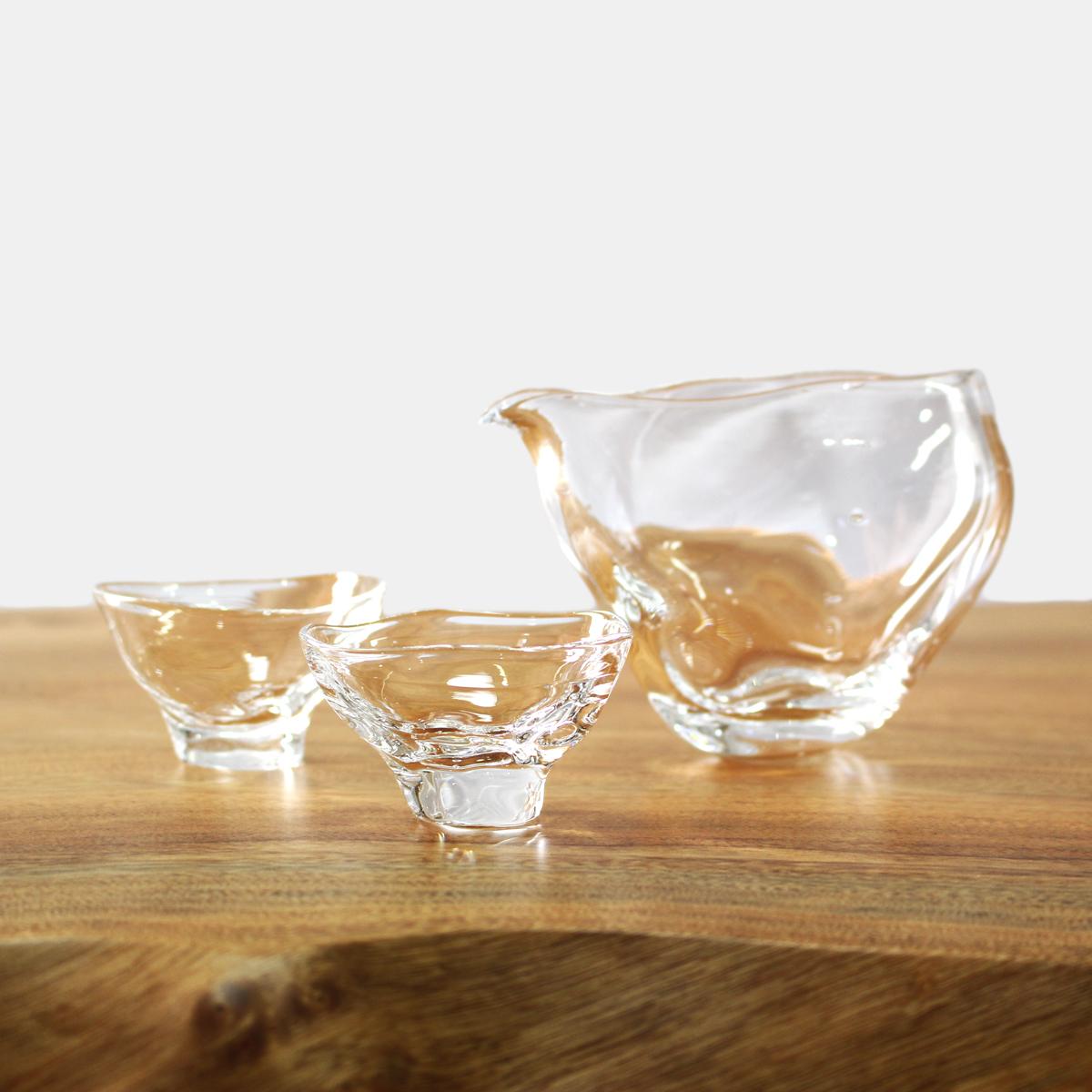 glasscalico グラスキャリコ ハンドメイド ガラス酒器 ミナモ 冷酒器セット (片口・ぐい呑 2個) おしゃれ ギフト プレゼント