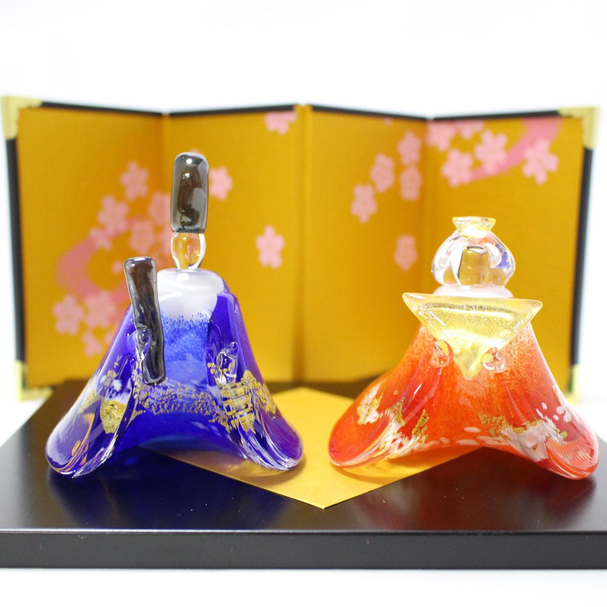 ガラスのお雛様 やよい雛(青・赤) glass calico グラスキャリコ ハンドメイド ガラスアート 雛人形 ひな人形 おひなさま 桃の節句 オブジェ コンパクト おしゃれ ギフト プレゼント