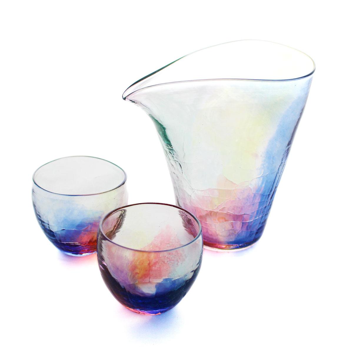SAIZOU GLASS LABO サイゾウグラスラボ ハンドメイド ガラス酒器 虹のカタチ 冷酒器セット (縦型片口・ぐい呑2個)