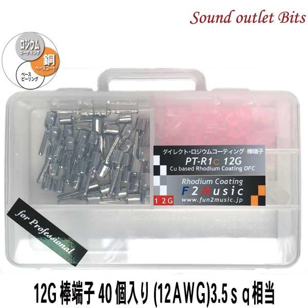 ネコポス可●F2MusicPT-R1c 12G professionalダイレクトロジウムコーティング12G(ゲージ)棒端子40個入(絶縁スリーブ赤・無色/ケース付)