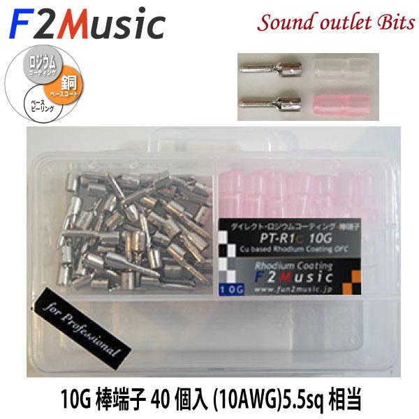 F2MusicPT-R1C 10G for Professionalダイレクトロジウムコーティング+(プラス)10G(ゲージ)棒端子40個入(絶縁スリーブ赤・無色/ケース付)