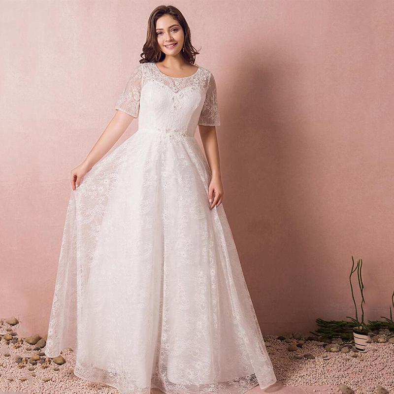 【大きいサイズウェディングドレス】ウェディングドレス/ロングウエディングドレス/Aライン/編み上げタイプ/床付きタイプ【ホワイト】【2XL~7XLサイズ】【fh51】