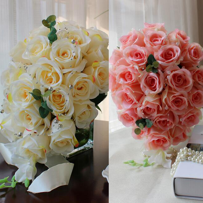 2カラーから選べる カラードレスによく合うブライダルブーケ☆彡 ラッピング無料 ブーケ 2カラー展開 ウェディングブーケ 造花ブーケ ブライダルブーケ ラウンドブーケ ふるさと割 flo44b 結婚式 トスブーケ ホワイト 高さ約35 ピンク 花束 直径約24cm