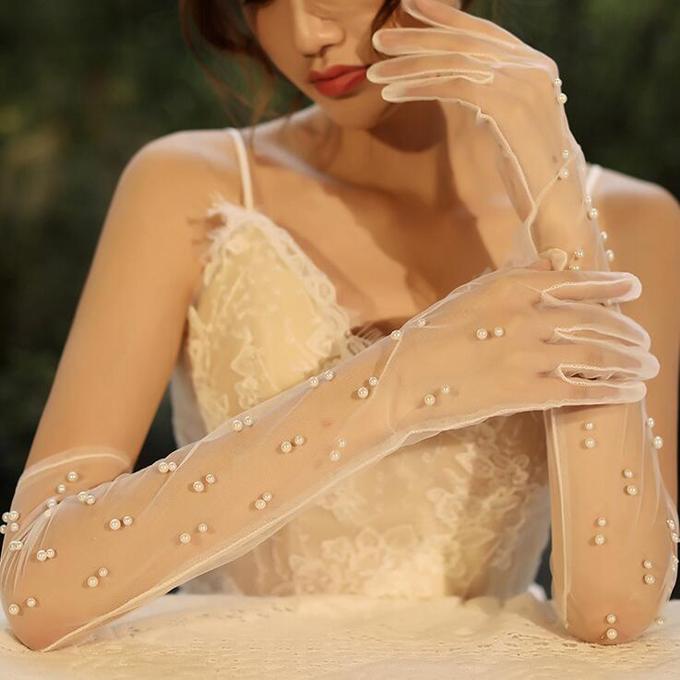 シックでお姫様感満載なロンググローブ プリンセスラインのドレスによく合う☆彡 ロンググローブ 超激得SALE ウェディンググローブ 上等 ウエディンググローブ ブライダル小物 gvl19yh レース ウェディング小物
