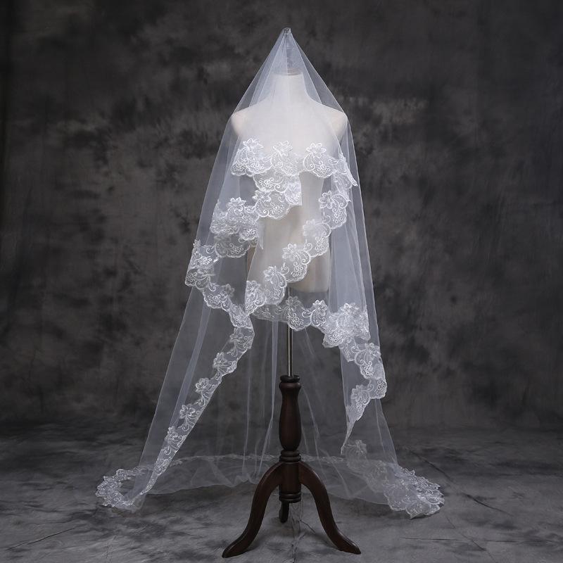 お求めやすく価格改定 ウエディングドレスには欠かせないロングベール☆彡 ロングベール 一層 ウェディングベール ウエディングベール 日本 レース 刺繍 1層ベール ts28