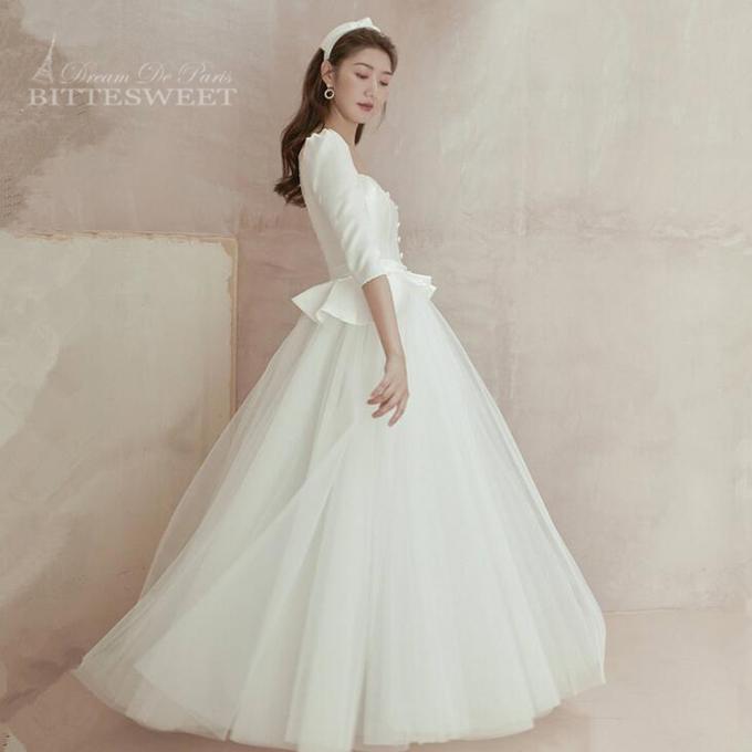 2021新入荷 Dream De Paris シリーズドレス オーダーメイドも可能 ウエディングドレス 韓国風 Wedding スーパーSALE セール期間限定 Dress ウェディング ドレス 袖あり wd477ls 結婚式 ファスナータイプ レディースドレス 床付きタイプ XS~XL 評価 前撮り ホワイト 撮影 海外挙式ドレス 編み上げタイプ 選べます