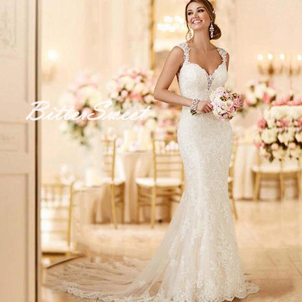 新作 オーダーメイドも可能 マーメイドライン ウェディングドレス トレーンタイプウェディングドレス ノースリーブ ウエディング レース 刺繍 トレーン【ホワイト・オフホワイト】【XS~XXXL】 wd112wq