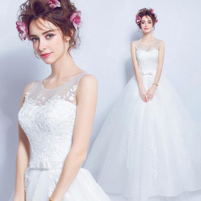 再入荷 ウェディングドレス ノースリーブ ウエディングドレス Aライン 編み上げタイプ ロングドレス【ホワイト】【XS~XXXLサイズ】【wd301ts】