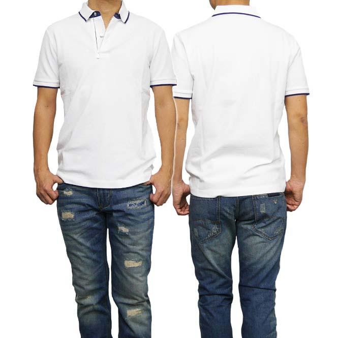 (アルマーニ コレツィオーニ)ARMANI COLLEZIONI メンズ半袖コットンピケポロシャツ 3YCF58 CJDYZ ホワイト