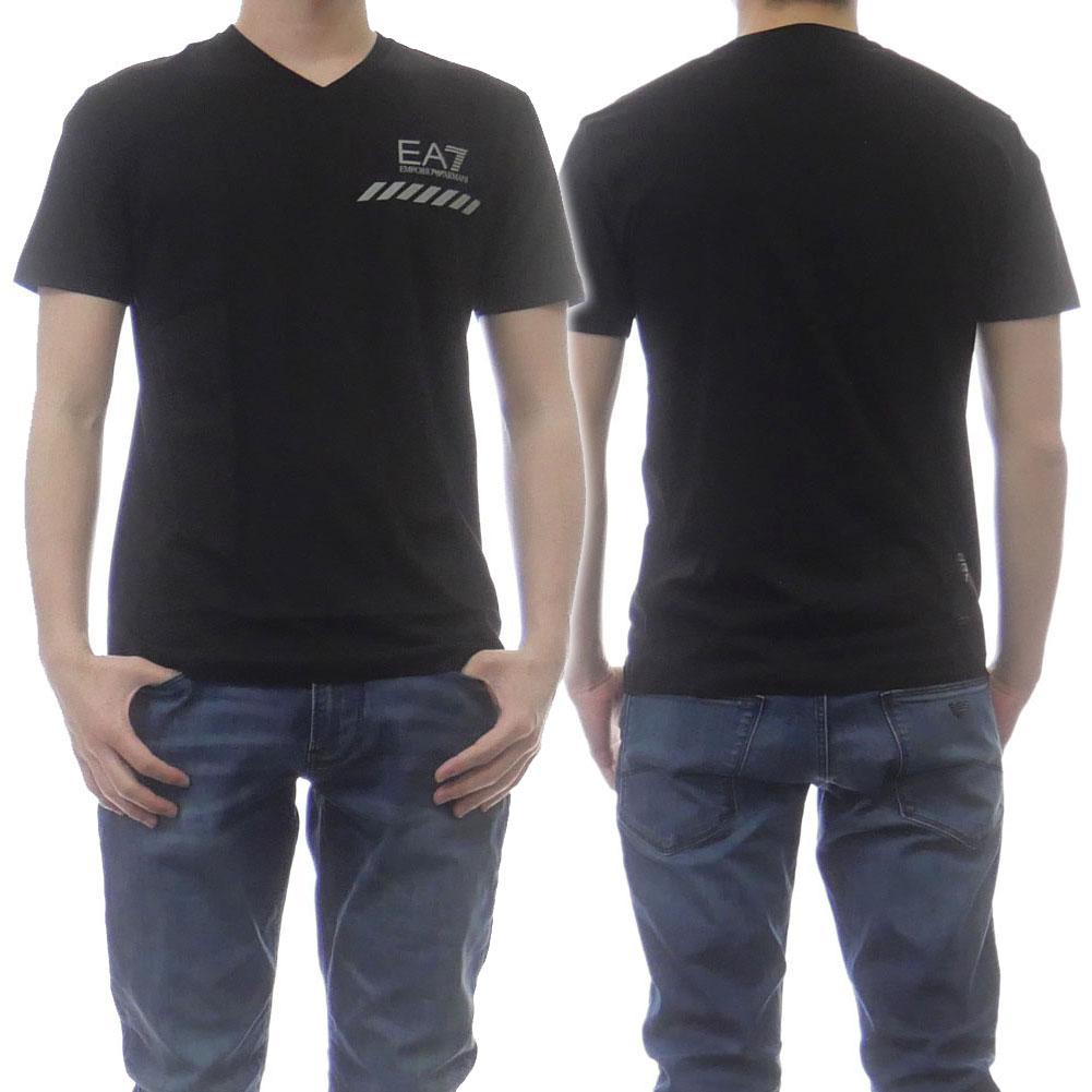 2021春夏新作 EMPORIO ARMANI エンポリオアルマーニ EA7 メンズ半袖Tシャツ 返品交換不可 3KPT73 メンズVネックTシャツ ブラック 希望者のみラッピング無料 PJM9Z