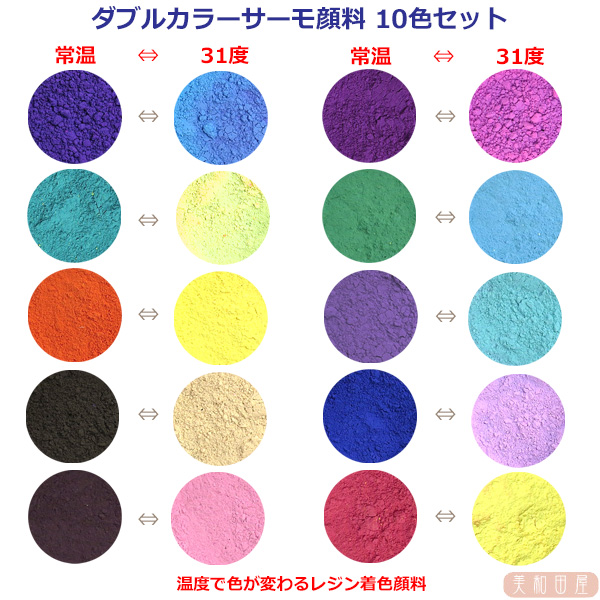 ダブルカラーサーモ顔料 市販 10色セット 温度で色が変わるレジン着色顔料 レジン 変色 予約販売 カラーチェンジ 手芸 示温 可逆性示温材 ハンドメイド