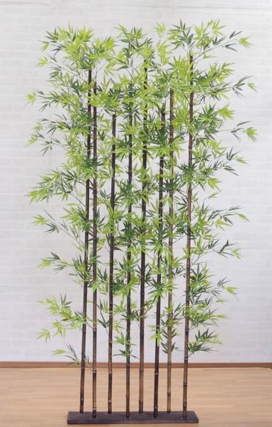 黒竹8本立パーテーション210cm (人工竹 造花 インテリア 大型 和風 日本風 庭 フェイクグリーン バンブー 衝立 ついたて)