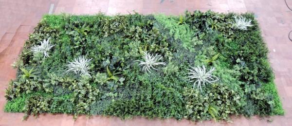 壁面緑化パネル グリーンA(4分割 大型 目隠し イミテーション 造花 フェイク 装飾 インテリア ウォールデコレーション)