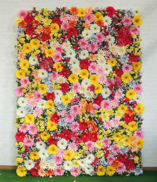1.8m×0.9m(大型 フェイク 装飾 壁面緑化 造花) 目隠し ガーベラがいっぱいパネル