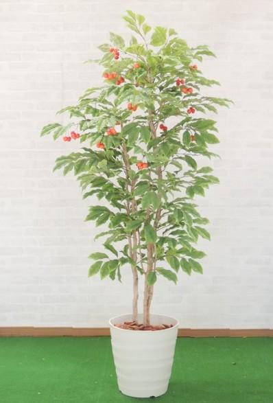 さくらんぼの木 180cm (チェリー フェイク 造花樹木 人工観葉植物 1.8m)