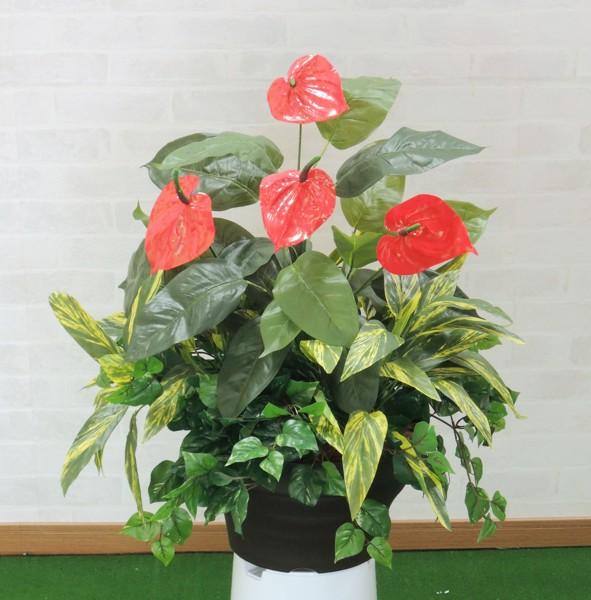 屋外対応造花ガーデニングアレンジ アンスリューム寄せ植えポット 屋外対応 造花 インテリア 観葉植物 70cm 作り物 ガーデニング おしゃれ ディスプレイ 装飾 フェイクグリーン NEW 世界の人気ブランド