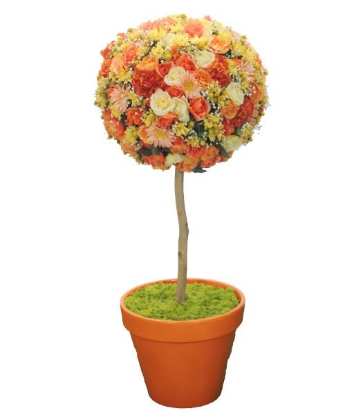 フラワートピアリー120cmオレンジ(造花 人工 観葉植物 オブジェ インテリア 円形 おしゃれ 室内 花の置物 装飾 ディスプレイ)