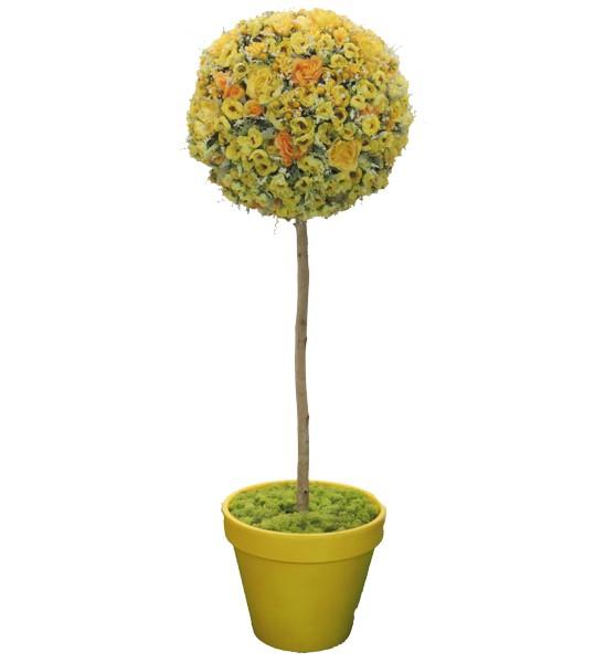 フラワートピアリーの人工観葉植物造花 直輸入品激安 オブジェ インテリア 円形 おしゃれ 装飾 お花 造花 人工 フラワートピアリー150cmイエロー ディスプレイ 人気上昇中 観葉植物 置物